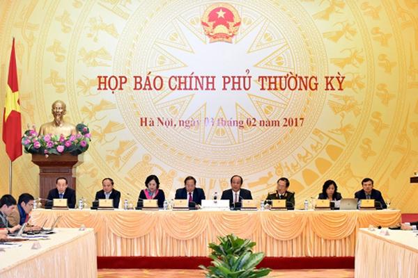 Toàn cảnh phiên họp báo Chính phủ thường kỳ tháng 1/2017