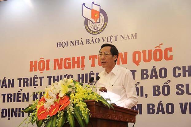 Chủ tịch Hội Nhà báo Việt Nam Thuận Hữu phát biểu khai mạc