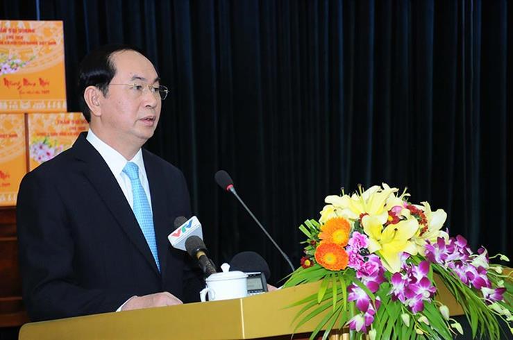 Chủ tịch nước Trần Đại Quang phát biểu tại buổi làm việc với lãnh đạo Bộ Giáo dục và Đào tạo
