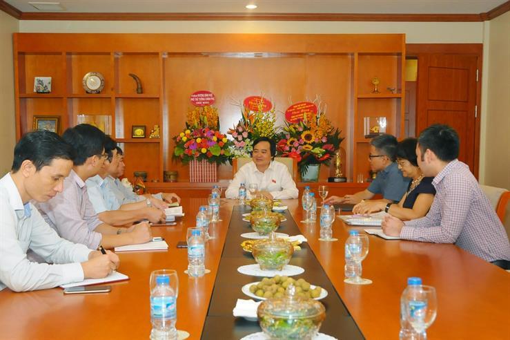 Bộ trưởng Bộ GD&ĐT Phùng Xuân Nhạ làm việc với GS Ngô Bảo Châu