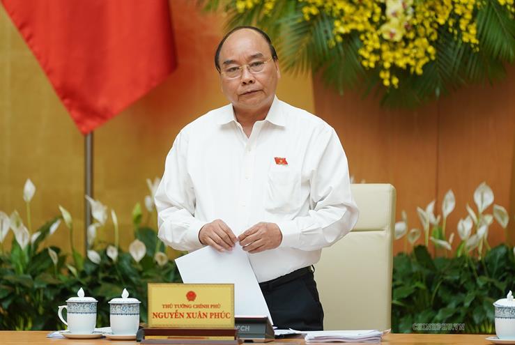 Thủ tướng Nguyễn Xuân Phúc phát biểu kết luận phiên họp Chính phủ thường kỳ tháng 5/2019.